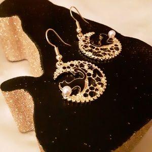 Black Enamel Cat Goldtone Starry Moon Earrings